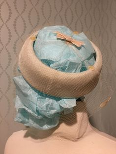Gorgeous Ivory Pillbox Hat with Netted Veil by PurpleIrisVintage on Etsy