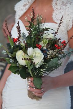 Gorgeous rustic winter wedding bouquet