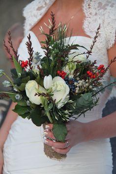 Gorgeous rustic winter wedding bouquet