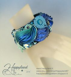 Into the deep , embroidery and Shibori bracelet cuff OOAK