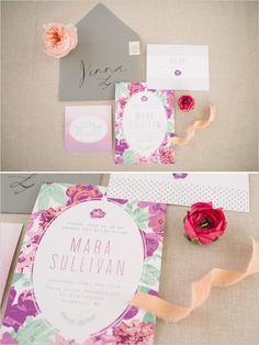 Floral bridal shower invitations. Stationery: Mia Maria Design ---> http://www.weddingchicks.com/2014/05/19/spring-bridal-shower-and-cocktails/