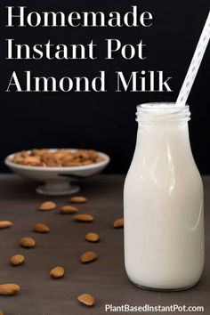 You do not need an Instant Pot to make a plant-based milk, this Homemade Instant Pot Almond Milk Recipe does use one. Plus it's easy & you can make it now! Milk Plant, Plant Based Milk, Veggie Smoothies, Fruit Smoothie Recipes, Drink Recipes, Pots, Almond Milk Recipes, Instant Pot Pasta Recipe, Gluten Free Restaurants