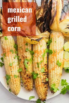 This Mexican grilled corn will steal the show at your next cookout! Fresh corn is smothered in a zesty sauce, grilled to perfection and served with a sprinkling of cilantro. You'll want to make this flavor-packed vegan side dish all summer long! Vegan Breakfast Recipes, Veg Recipes, Delicious Vegan Recipes, Vegan Grilling, Grilling Recipes, Vegan Side Dishes, Food Dishes, Grilled Portabella Mushrooms, Mexican Grilled Corn