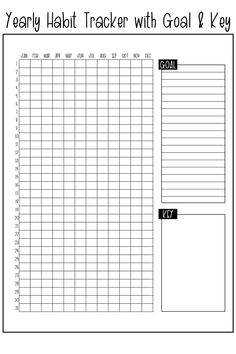 Free printable yearly habit tracker. You can track one habit all year long with this bullet journal habit tracker printable. #habittracker #bujo #bulletjournal #plannerprintables