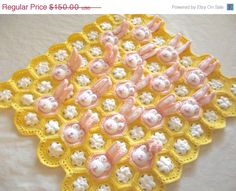 60% OFF Baby Blanket Baby Girl Blanket Bunny by TwoSeasideBabes