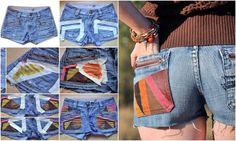 Denim Shorts aufpeppen - Aztekenmuster mit Stoffarbe kreieren