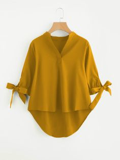 SheIn offers Tie Cuff Dip Hem Blouse & more to fit your fashionable needs. Stylish Dress Designs, Stylish Dresses, Girls Fashion Clothes, Fashion Outfits, Mode Glamour, Latest African Fashion Dresses, Look Fashion, Fashion Women, High Fashion