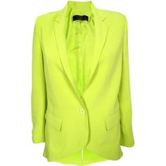 Jenni Kayne Cut Away Blazer ($298) ❤ liked on Polyvore featuring outerwear, jackets, blazers, blazer, coats, silk jacket, yellow jacket, neon yellow blazer, jenni kayne and cut out blazer