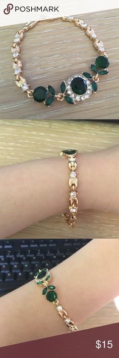✨Black Friday Sale✨ 18K Gold Austrian Crystal Cuff Lovely holiday bracelet. Only worn once. Offers welcome! Comes with jewelry box. ✨Perfect gift ✨ Banana Republic Jewelry Bracelets