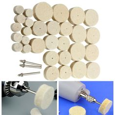 Accessories for Dremel Rotary Tool 33pcs Wool Polishing Wheel Grinder. Description: 33pcs Wool Polishing Wheel Grinder Accessories for Dremel Rotary Tool  Specification:  Material: wool, metal  Color: Milk white  Polishing wheel diameter: 13/25/30mm  Thickness: 9mm  Handle length: 37mm  Handle diameter: 3mm    Features:  Widely used in the cylinder bore grinding, pipeline, abrasive, mold, medical equipment,  beauty equipment, gold and silver jewelry, stainless steel, glass…