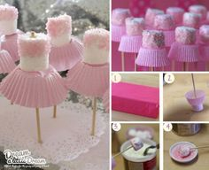 Ballerina marshmallows. Love the simple shape that says it all!