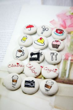 Darling cover buttons | Minki's Work Table make merit button covers, too.