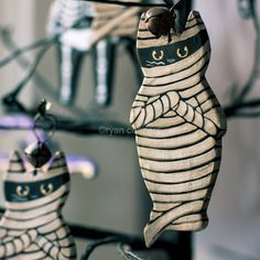 Mummy Cat Halloween Clay Folk Art Ornament by KilkennycatArt, $11.50