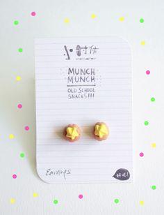 wheniwasfour fancy gem biscuit earrings, $14.90