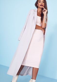 Missguided - Long Sleeve Maxi Duster Jacket Grey