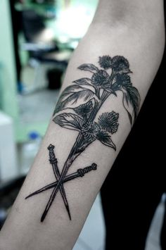 thistle and daggers by andrey svetov #arm #forearm #tattoos