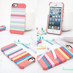 Rainbow colorful case for any cell phone case. Just buy a plain one  decorate it!