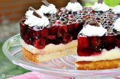 cherry cake by Mala Cukierenka, Sponge Cake Recipes, Jello Recipes, Dessert Recipes, Polish Desserts, Just Desserts, Polish Food, Pudding Cake, Custard Pudding, Cherry Cake