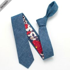 Slate Chambray & 1940s Climbing Vine Skinny - vintage ties handmade in the United States