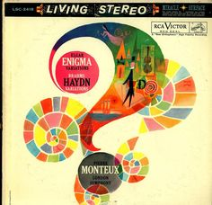 """Elgar- Enigma Variations Brahms- Haydn Variations  London Symphony, Pierre Monteux, cond.  RCA Victor Red Seal LSC-2418 (1960)  Album art by """"Ysobel"""""""