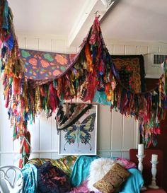 Boho Bedroom Patio Canopy Bohemian hippy vtg bed scarves Gypsy hippie patchwork meditation garden Wedding Decor photo prop backdrop Fringe by HippieWild on Etsy https://www.etsy.com/listing/240266574/boho-bedroom-patio-canopy-bohemian-hippy