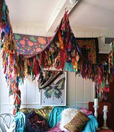 Boho Bedroom Patio Canopy Bohemian hippy vtg bed scarves Gypsy hippie patchwork meditation garden Wedding Decor photo prop backdrop Fringe by HippieWild on Etsy https://www.etsy.com/listing/240266574/boho-bedroom-patio-canopy-bohemian-hippy