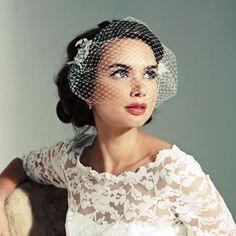 Birdcage veil with beaded lace embellishments   Mauricia veil   Joyce Jackson