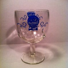 Pabst Blue Ribbon Vintage Glass Goblet  by rumpledsuit on Etsy, $25.00
