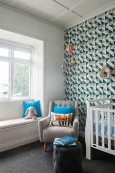 Modern Nursery with Geometric Accent Wall - Project Nursery