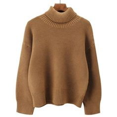 Khaki ONE SIZE Drop Shoulder Long Sleeve Turtleneck Sweater ($17) ❤ liked on Polyvore featuring tops, sweaters, turtle neck sweater, polo neck sweater, brown sweater, extra long sleeve sweater and turtleneck sweaters
