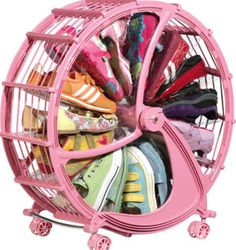 Spinning free from all traditional storage systems, the Shoe Wheel is an ingeniously designed mobile storage unit with 20 expandable pockets that can hold up to 30 pairs of shoes depending on the type. http://styleangel.com/?p=2438