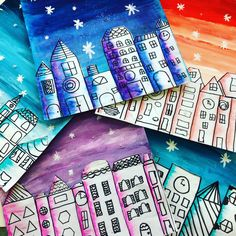Painted Paper Art – Connecting curriculum and creativity through art. – Page 2 – Kunstunterricht Winter Art Projects, Art Projects For Adults, Toddler Art Projects, Chef D Oeuvre, Oeuvre D'art, Arte Elemental, 6th Grade Art, Cityscape Art, Middle School Art