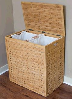 Keep Your Laundry Neat And Organized With The BirdRock Home® Divided Hamper.  This Over Sized Hamper Is Made From Rapidly Renewable Bamboo And Includes  Two ...