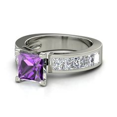 ♥ Princess Amethyst 14K White Gold Ring with Diamond | Chloe Ring | Gemvara ♥