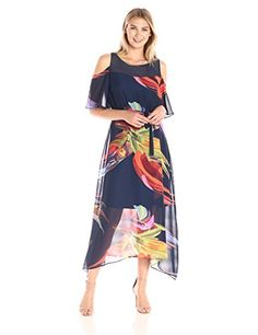 ROBBIE BEE Women's Printed Chiffon Hanky Hem Dress with Cold Shoulder