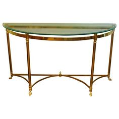 Image Of Mid Century Labarge Brass Console Table