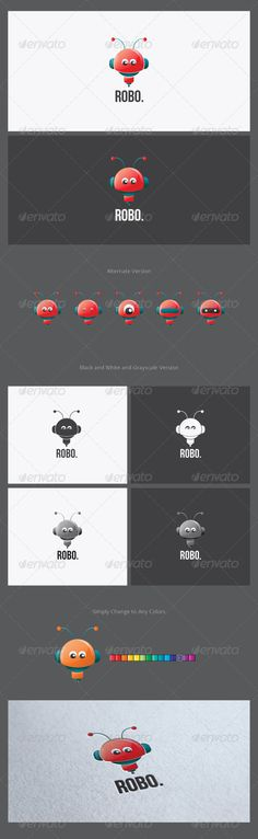 Robo Logo Template  #GraphicRiver         Robo is professional and well-illustrated logo template related to any business or companies. The logo represent creativity, idea, fun, toy, enjoy, and capability feel. The illustration was well-executed even in the small detail. In the download package, you also can found the black and white, grayscale version and more alternate logo variations. So it will be suited in any media both in print and screen.   Font used : Bebas Neue (free)     Created…