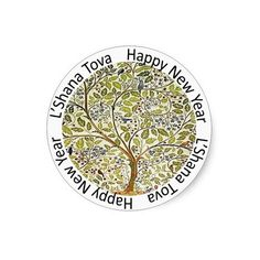 Happy Jewish New Year Envelope Seal Classic Round Sticker ($5.75) ❤ liked on Polyvore featuring home, home decor and holiday decorations
