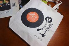 Hand Printed Vinyl Record Player Canvas Tote Bag by Printmeikiando