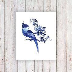 Tatuaje temporal de Delft Blue bird / tatuaje por Tattoorary