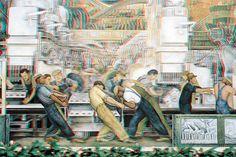 Anaglyphe art - Diego Rivera Detroit industry murals - 3D