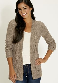 open front marled cardigan - #maurices