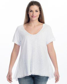 Βαμβακερή μπλούζα με δαντελένιες ρίγες — mat. XXL sizes
