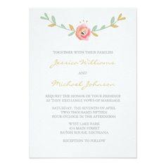 "Watercolor Flowers Wedding Invitations 5"" X 7"" Invitation Card"