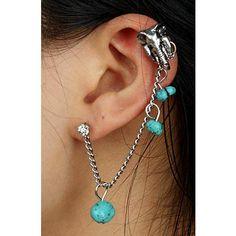 Punk Unique Fashion Ear Cuff Chain Retro Copper Alloy Rhinestones Turquoise Earrings