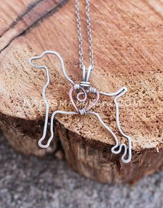 Weimaraner Necklace, Copper Wire, Sterling Silver Wire, Dog Outline, Wire Jewelry