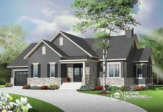 Looking to build an affordable bungalow with master suite, home office, open floor plan layout and garage? This new bungalow plan is for you!