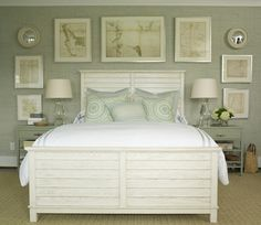 Suzie: Phoebe Howard - Cottage bedroom with gray green grasscloth wallpaper, white washed wood ...