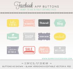 INSTANT DOWNLOAD Facebook Timeline Tab Images - App buttons - social icons, $8