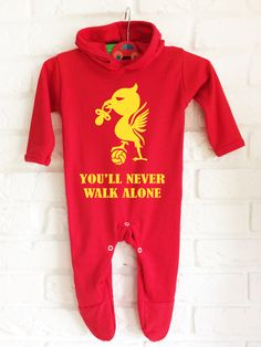 Baby's Liverpool FC football team inspired red hooded bodysuit onesie baby grow. You'll never walk alone. by MumKnowsBabyGrows on Etsy